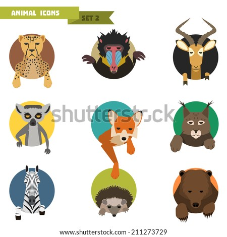 animal avatars set with flat