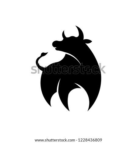 animal bison, bull ,cow farm silhouette inspiration logo vector