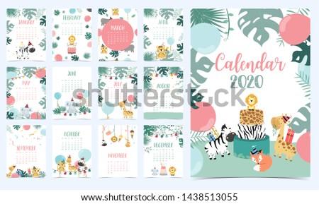 animal calendar 2020 with