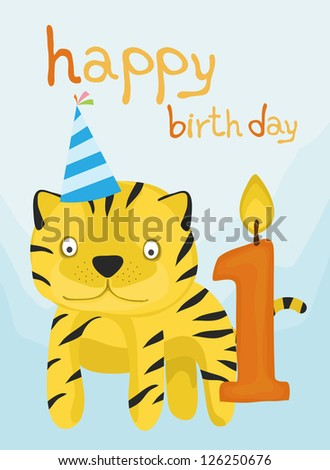 animal card collection, baby tiger happy birthday one year old