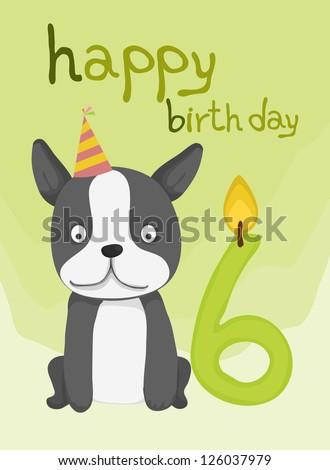 animal card collection, happy cute dog birthday