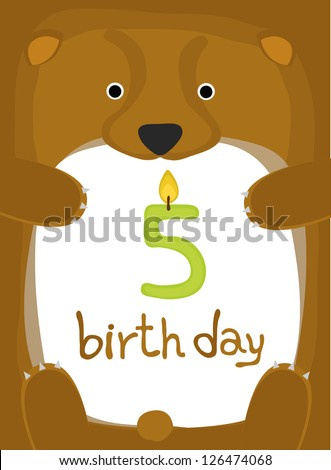 animal card collection , happy little animal bear five year old