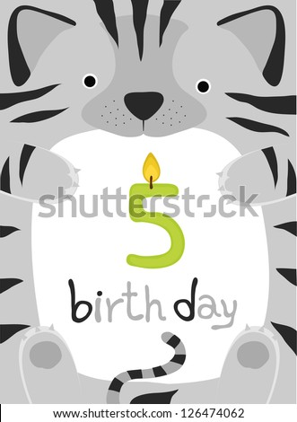 animal card collection , happy little animal cat five year old