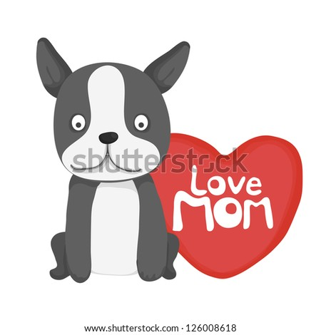 animal card collection ,  little dog love mom