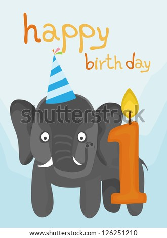 animal card collection, little elephant happy birthday one year old