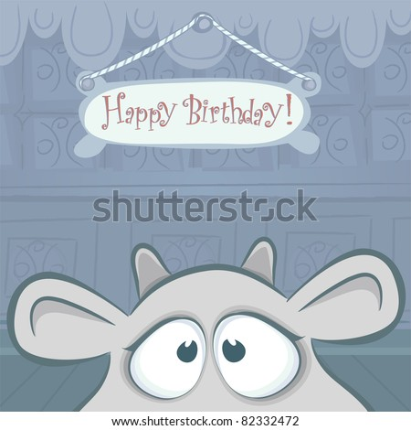 ... cards series. Vector birthday card with funny cow.