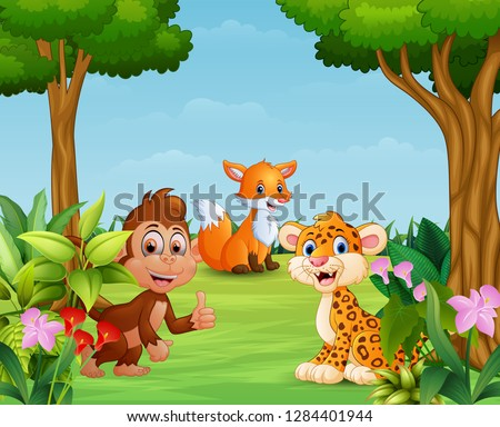 Animal cartoon enjoying in the beautiful nature #1284401944