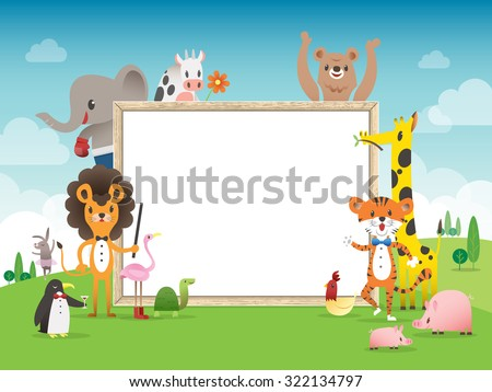 animal cartoon frame border