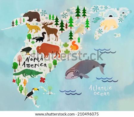 animal cartoon map. north...