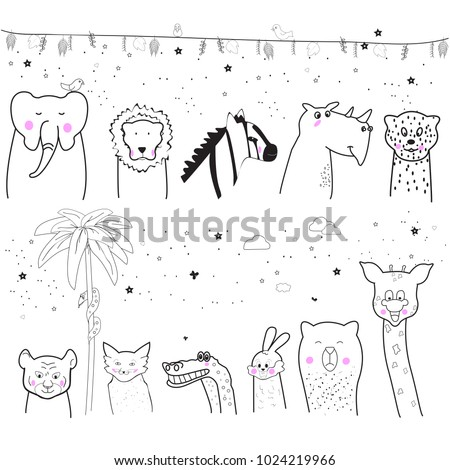 Animal cartoon set isolated on white background. Cute animals for kids painting, poster, placard and wallpaper. Creative art, vector illustration