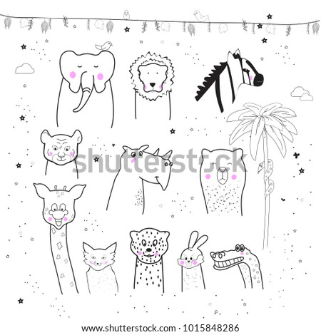 Animal cartoon set isolated on white background.Cute animals for kids painting, poster, placard and wallpaper. Creative art, vector illustration