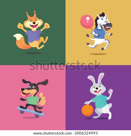 Animal characters squirrel zebra dog and rabbit on a colored background. Vector illustration Foto stock ©
