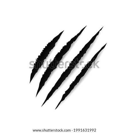 Animal claw marks, paw scratches, vector slash traces of tiger, bear, lion or wild cat, beast or dragon sharp talons. Torn trails of horror monster attack with rough edges, tattoo design Photo stock ©