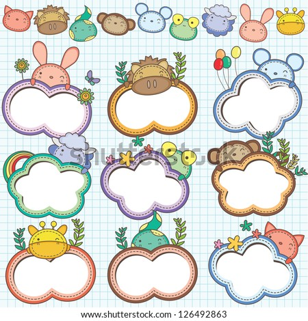 Animal Cloud Frames Set 1 More animal frames are available