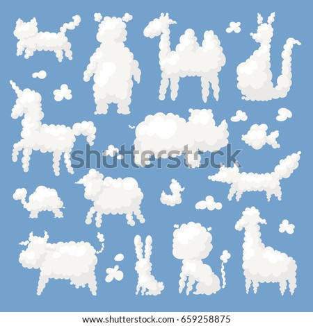 Animal clouds white silhouette sweet dreams kid imagination vector illustration cute farm and wild shapes