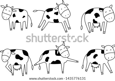 Animal collection Cow collection illustration vector