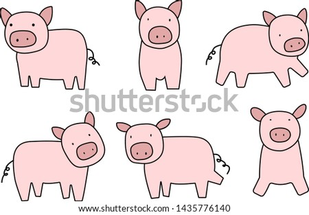 Animal collection Pig collection illustration vector