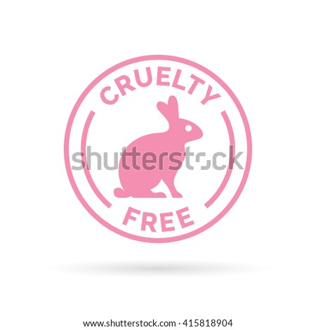 Animal cruelty free icon design. Product not tested on animals symbol with pink bunny rabbit sign. Vector illustration.