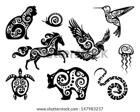 Animal Design Silhouette Set Ilustración vectorial en ...