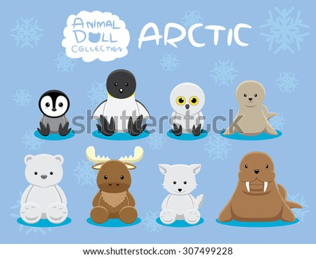 animal dolls arctic set cartoon