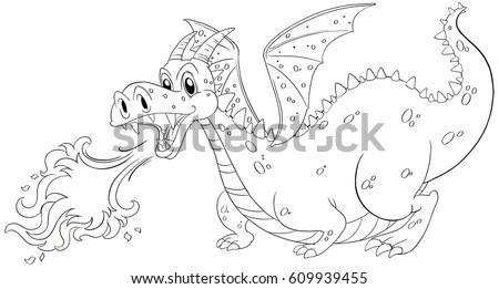 animal doodle outline for dragon blowing fire illustration - Dragon Outline