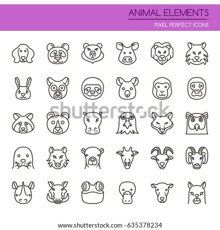 animal elements   thin line and