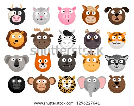 Animal emoticons. Horse and zebra heads, monkey and dog face icons, tiger and elephant funny friend cartoon pack isolated on white, vector illustration