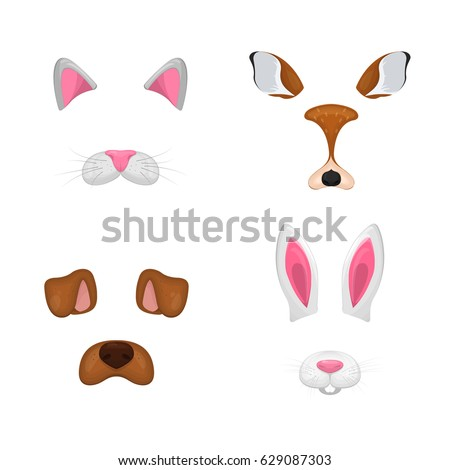 Animal face elements set. Vector illustration. Animal character ears and nose. Video chart filter effect for selfie photo decor. Constructor. Cartoon mask of cat,deer,rabbit,dog. Isolated on white.