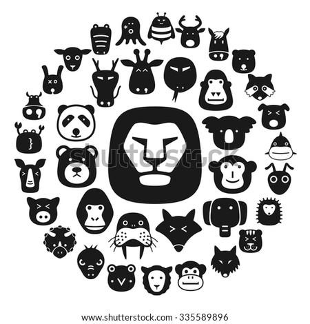 animal face flat character flat