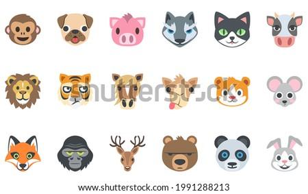 animal face icon set : monkey ,dog, tiger, fox, cat, wolf, cow, lion, horse ,camel ,mouse, gorilla, panda, rabbit, bear, dear  . flat vector illustration icon set . Сток-фото ©