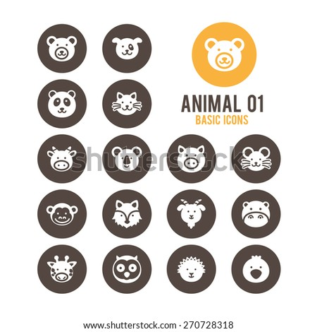 Animal face icons. Vector illustration.
