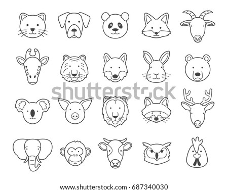 Animal Face Outline Set
