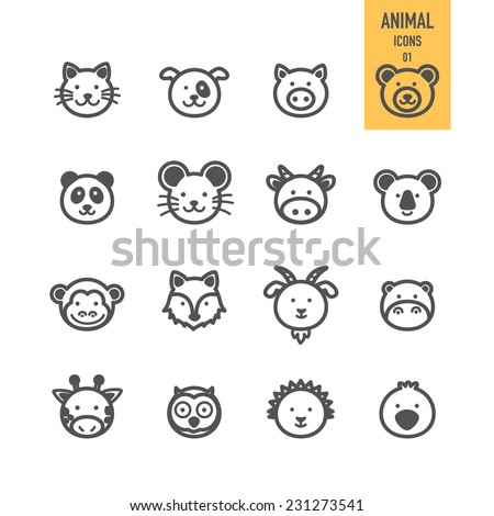Animal face set. Vector illustration.