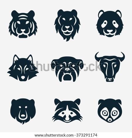 Animal face vector icon set