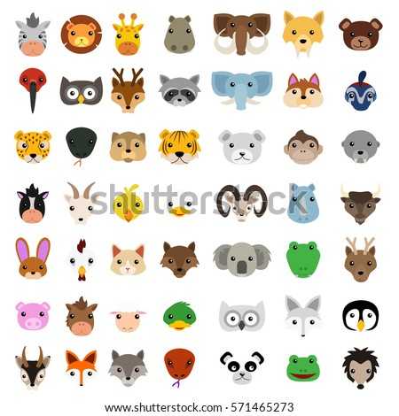 animal faces clip art vector