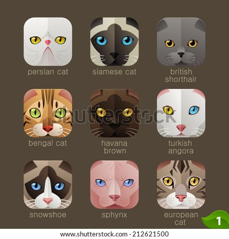 animal faces for app icons cats