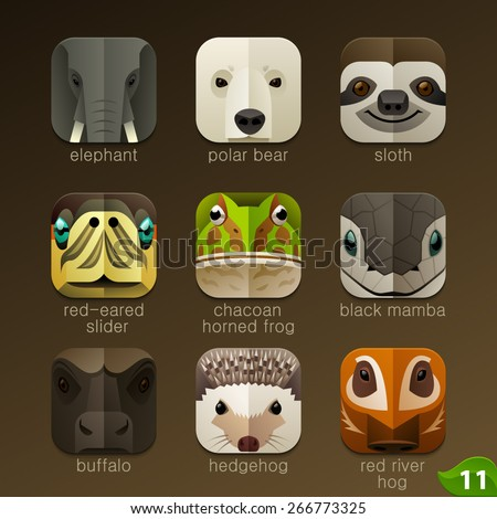 animal faces for app icons set