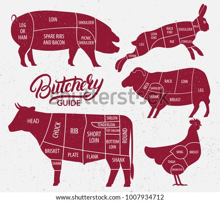 Animal farm set. Cut of beef, pork, lamb, chicken, rabbit. Poster Butchers diagram for meat stores, butcher shop, farmer market. Cow, pig, heep, chicken, rabbit silhouette. Vector illustration.