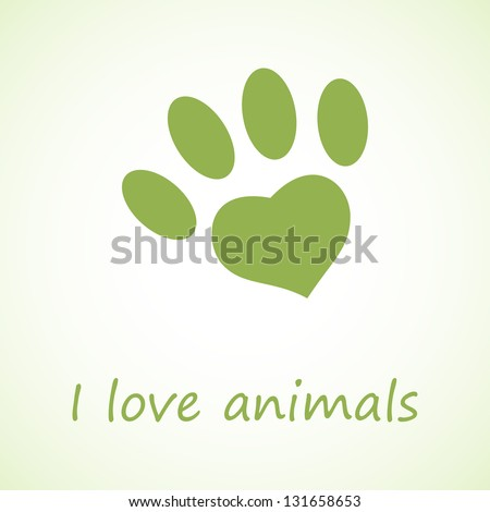 Animal foot print in eco style