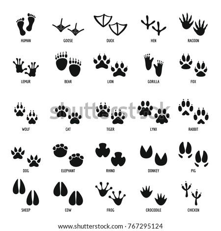 animal footprint icons set