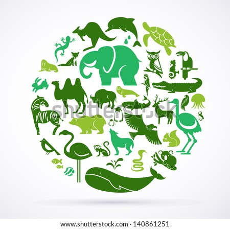 Animal green world - huge collection of icons and elements