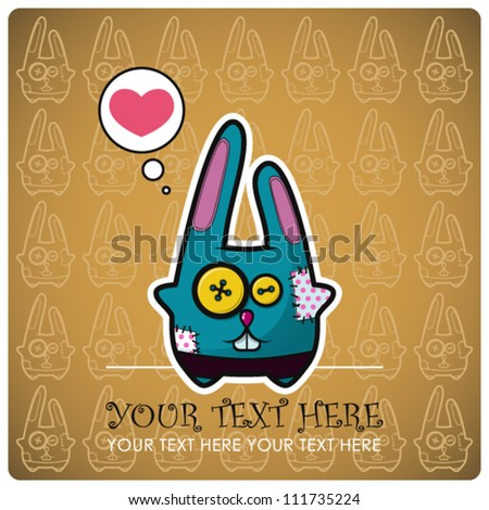 Animal greeting card with funny cartoon rabbit.