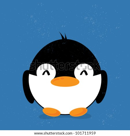 Animal grunge and grained old retro background, cartoon penguin with shadow, vector illustration