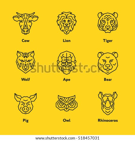 animal head face cow lion tiger