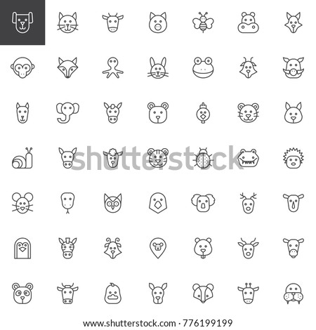 Animal head line icons set, outline vector symbol collection, linear style pictogram pack. Signs, logo illustration. Set includes icons as animal, face, insects, bird, marine pets, fauna, nature