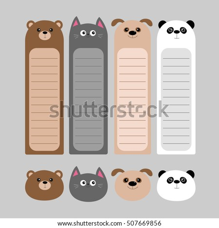 Animal head set. Cartoon kawaii baby bear, cat, dog, panda. Bookmark paper sticker collection. Notepad template. Flat design. Gray background. Vector illustration