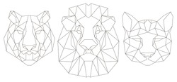 Animal head triangular icon , geometric trendy line design. Vector illustration ready for tattoo or coloring book. Lion, tiger, puma.
