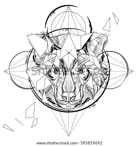 Animal head triangular icon , geometric trendy line design. Vector illustration ready for tattoo or coloring book. Wolf head low-poly sketch hand drawn