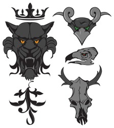 Animal heads and skulls with crown and ornament. Vector Illustration.