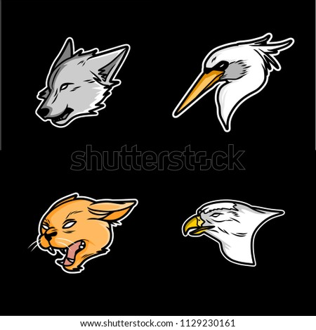 animal heads logo vector illustration, eagle head, wolf head, cat head,